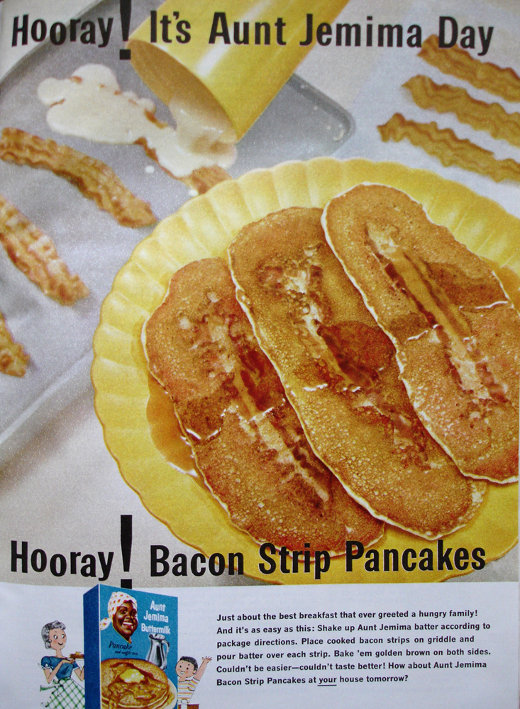 Aunt Jemima ad with recipe for Bacon Strip Pancakes by Look Homeward, Harlot, on Flickr