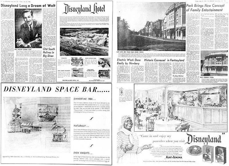 Orange County Register July 15, 1955 - opening of Disneyland
